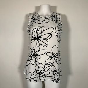 DKNY Blouse Top Floral Black Squiggles White Sz S